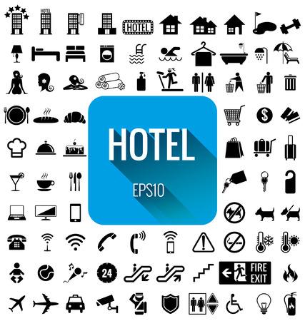 ホテル アイコンを設定  イラスト・ベクター素材