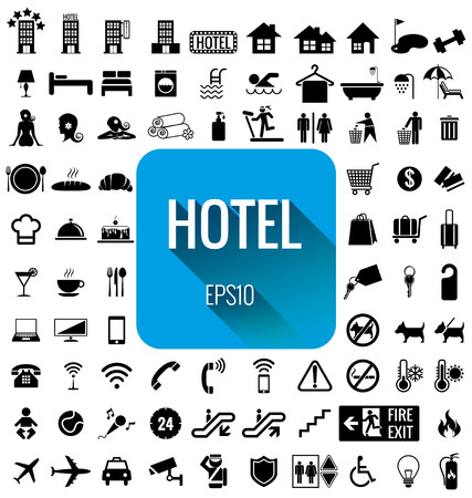 Hotel icon set Vector