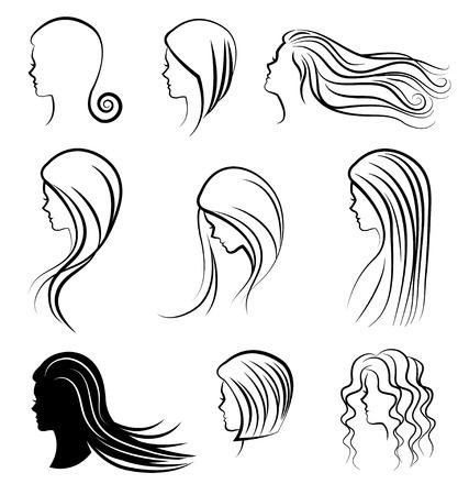 perfil de mujer rostro: Mujeres encabeza con un cabello hermoso Vectores