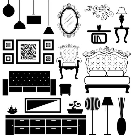 home accessories: Antique and modern furniture  Illustration