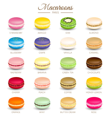 Colorful macaroons flavors   イラスト・ベクター素材