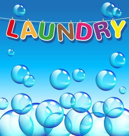 Laundry text and background of bubbles  向量圖像
