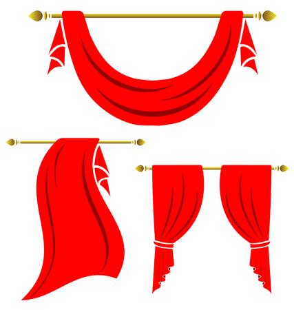 Red curtain vintage set on white background