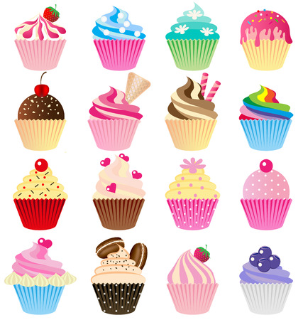 Cup cake vector set