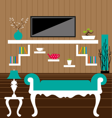 Living room interior vector Vector
