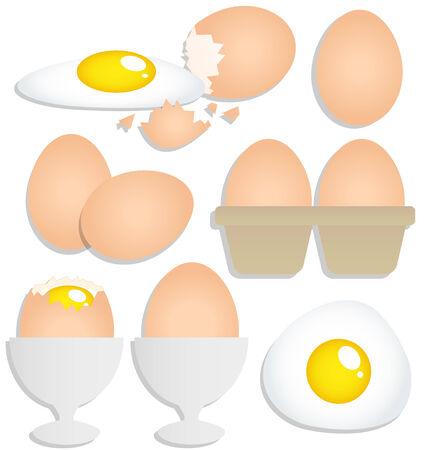 cracked egg: Set of eggs on white background