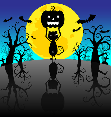 Halloween Background  with Pumpkins and black cat on the night Vector