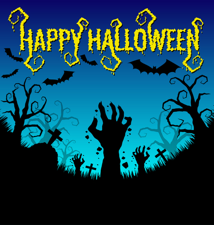 Halloween background with zombies hand and bat  Vector