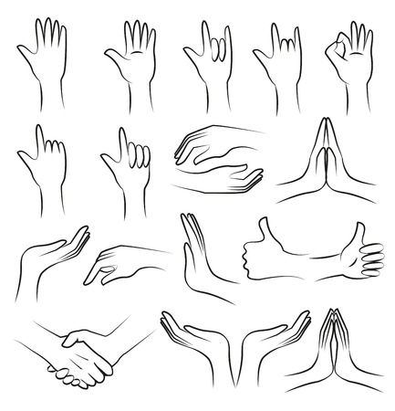 prayer hands: Hand collection on white background