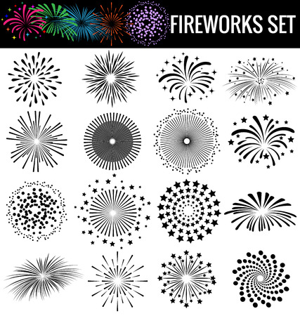 Beautiful Fireworks on white  background Ilustração