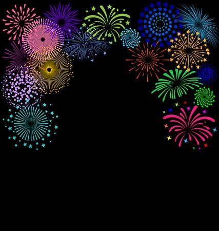 Colorful Fireworks  frame on black background Vettoriali