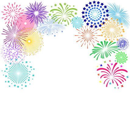 holiday celebrations: Colorful fireworks  frame on white background