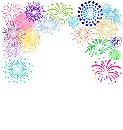 Kleurrijk vuurwerk frame op een witte achtergrond