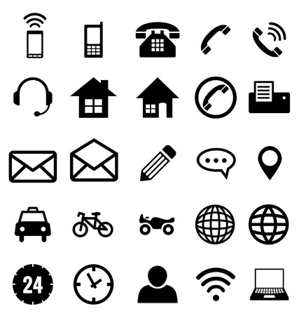 contact icons: Contact icon collection vector for business Illustration