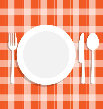 place setting: Cutlery dish on orange tablecloth Illustration