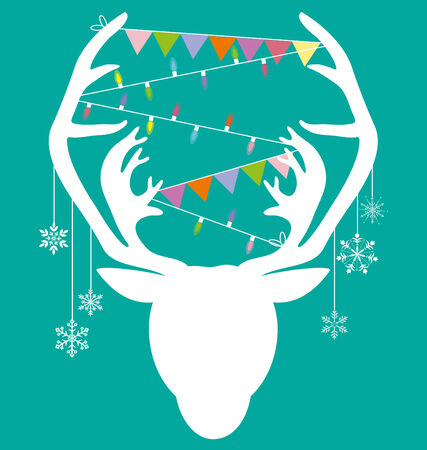green light bulb: Reindeer white hang christmas accessories on green background vector Illustration