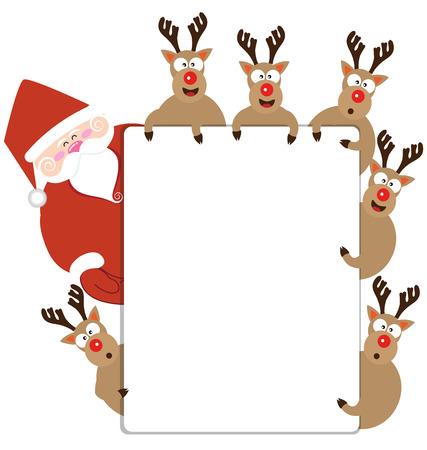 renos de navidad: Papá Noel y reno presente la tarjeta de Navidad del vector Vectores
