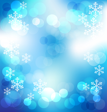 night lights: Blue elegant abstract background with bokeh lights on Christmas night vector