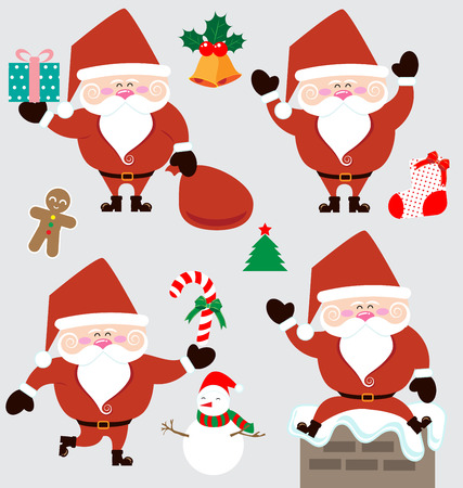 house of santa clause: Santa claus and christmas accessories vector
