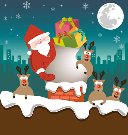 Santa claus and Reindeer send gifts on chimney vector
