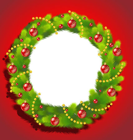 advent wreath: Christmas Wreath frame on red background