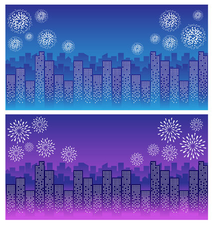 city night: firework over sky in city night