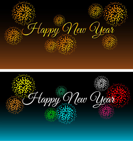 City at night with fireworks set Vector