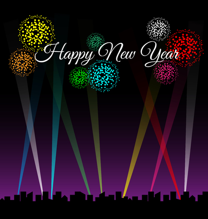 Happy new year text on city night with spotlights and colorful fireworks Vector