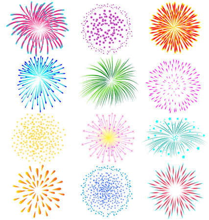 Fireworks vector set on white background Çizim