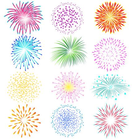fuegos artificiales: Fuegos artificiales conjunto de vectores en el fondo blanco Vectores