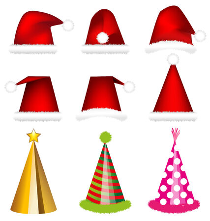 pink hat: Santa cap and party cap vector on white background