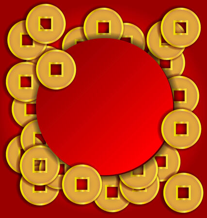 Gold coins background for Chinese New Year card Illustration
