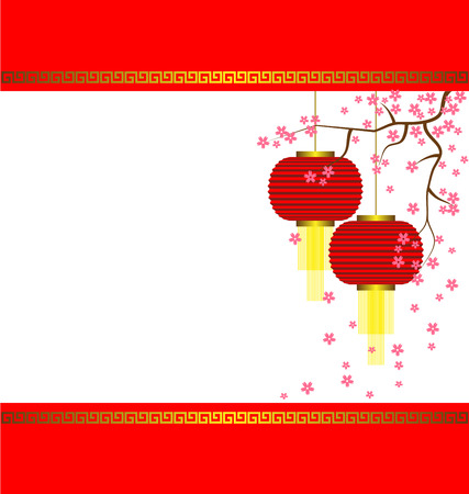 Lamp and Sakura on Chinese New Year Background