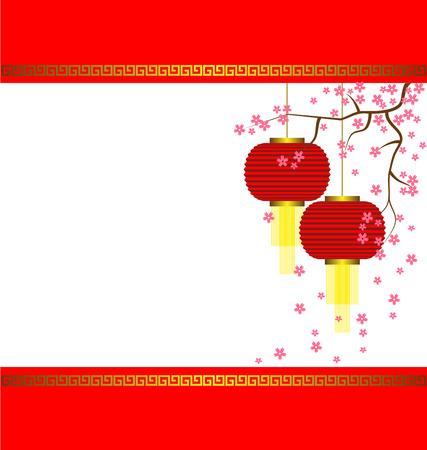 Lamp and Sakura on Chinese New Year Background