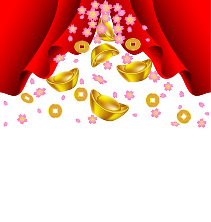 Sakura blossom and gold ingot fall from red curtain vector