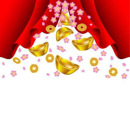 gold ingot: Sakura blossom and gold ingot fall from red curtain vector