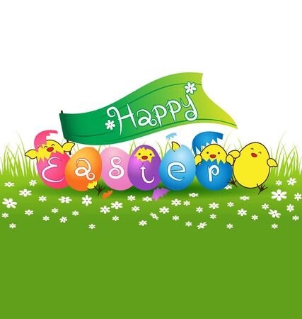 baby chicken: Cute baby chicken and colorful eggs vector for easter day card Illustration