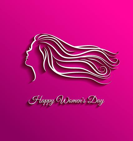 cabello largo y hermoso: Pelo largo hermosa en el fondo de color rosa para el d�a de la mujer internacional