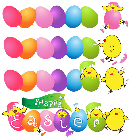 baby chicken: Colorful eggs with  funny baby chicken vector for easter day card Illustration