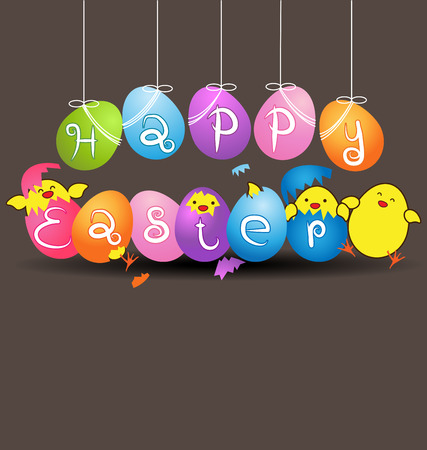 baby chicken: Colorful eggs with  funny baby chicken vector on gray background for easter day card Illustration