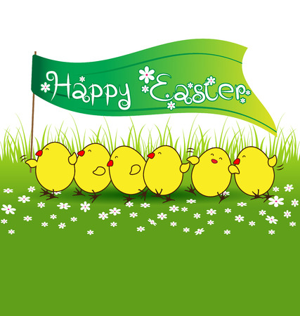 Cute baby chicken with happy easter flag on green grass vector Vector