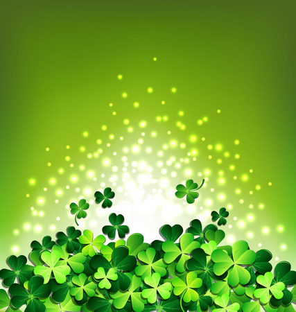 Abstract light on Shamrock on green background for Patricks day card