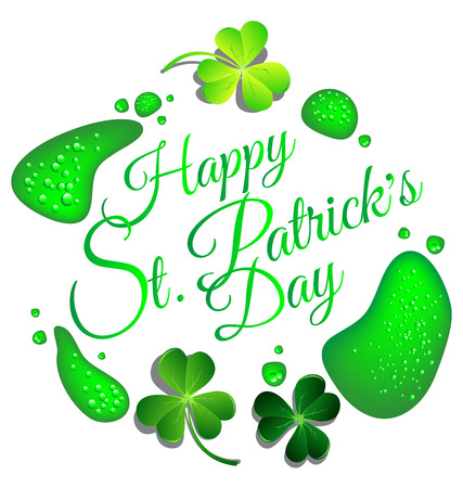 Happy St Patrick day card with green beer drop background