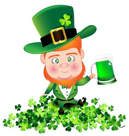 irish beer: Irish man irish man hold beer on Shamrock for St. Patricks Day card