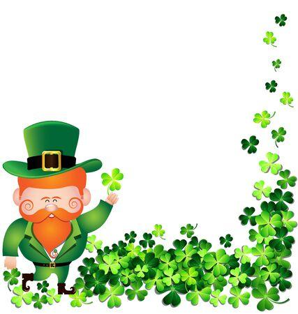 Irish man with Shamrock leaf frame for St. Patricks Day card Иллюстрация
