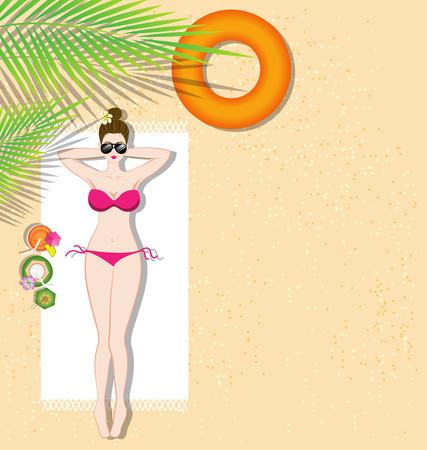 Beautiful girl lying on the beach under coconut tree Vector