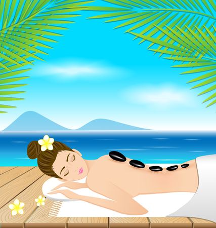 hot stones: Beautiful woman lying a therapy with hot stones on the beach Illustration