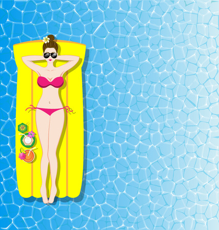 sea bed: Woman relaxing on yellow inflatable mattress in the sea