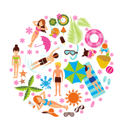 topical: Summer holiday design set on white background