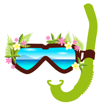 topical: Snorkel with flowers summer concept for card